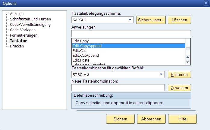 Editor-Tastaturkommandos