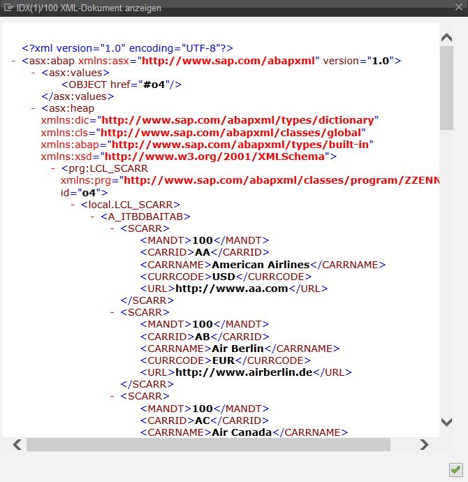 Anzeige von XML-Strings