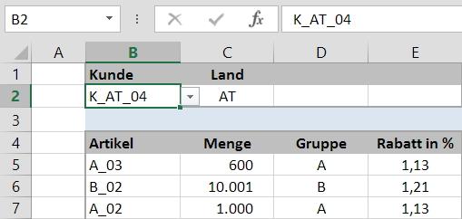 Komplexe Rabattfindung mit Excel